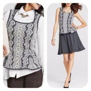 CAbi #887 Gray Ivory Peplum Shell Knit vest top